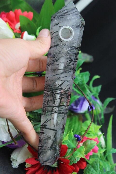 212 grams of natural quartz crystal long black hair crystal pipe smoking point to heal