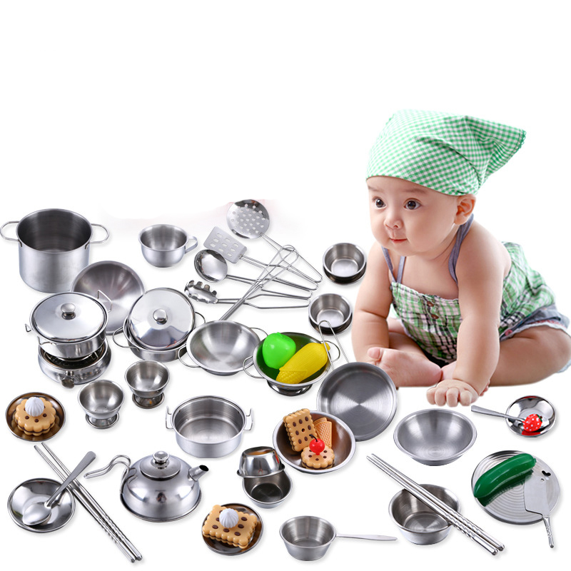 16pcs Stainless Steel Mini Kitchen Play Cooking Miniature Kitchen Kids Toy Set Kitchen Toys For Girls Pretend Play Doll Dishes