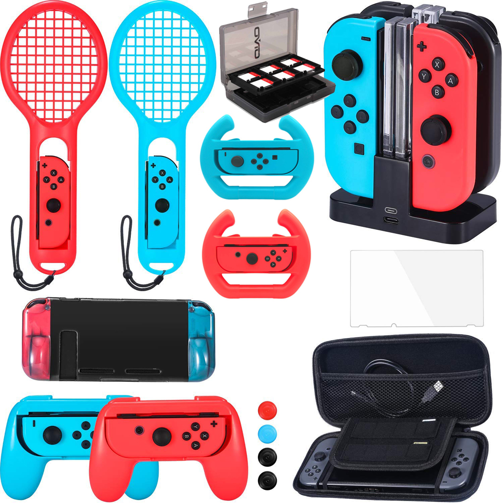 Accessories Bundle Compatible with Nintend Switch, Steering Wheel, Joy-con Grip, 4-Channel Charging Dock, Carrying Case,Racket nintend switch joy con