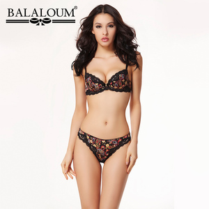 Image 1 - Balaloumผู้หญิงเซ็กซี่Floral Laceดอกไม้Pirint Push Up Bra Rhinestone Brassiereและกางเกงชุดไม่มีรอยต่อTกลับThongsชุดชั้นใน