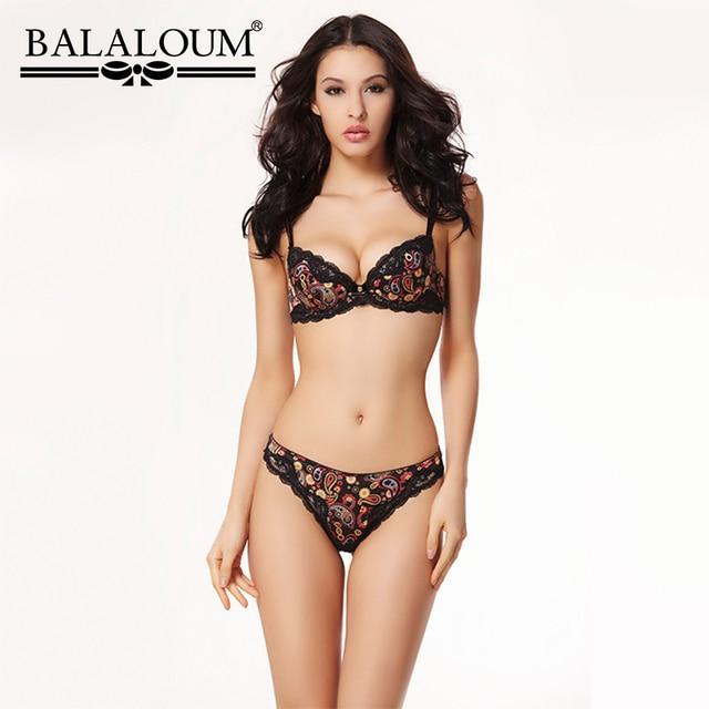 Balaloumผู้หญิงเซ็กซี่Floral Laceดอกไม้Pirint Push Up Bra Rhinestone Brassiereและกางเกงชุดไม่มีรอยต่อTกลับThongsชุดชั้นใน