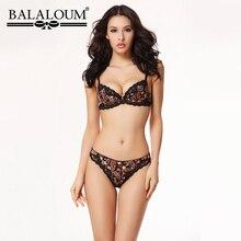 Balaloum נשים סקסי פרחוני תחרה פרח Pirint לדחוף את חזיית ריינסטון חזייה ותחתוני סטי חלקה T חוטיני הלבשה תחתונה