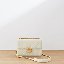 Genuine Leather Lattice Chain White Bag 2019 Single Shoulder Messenger Small Square Package Woman luxury handbags women designer(China)