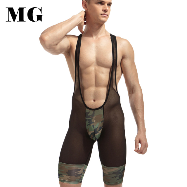 Pistolet Sexy Homme Maillots Corps Shaper Imprimé Camouflage Lutte  Justaucorps Y-dos Polyester 05daa3d7264