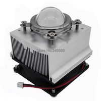 20W 30W 50W 100W LED Aluminium Heat Sink Cooling Fan 60 Degree 44mm Optical Glass Lens