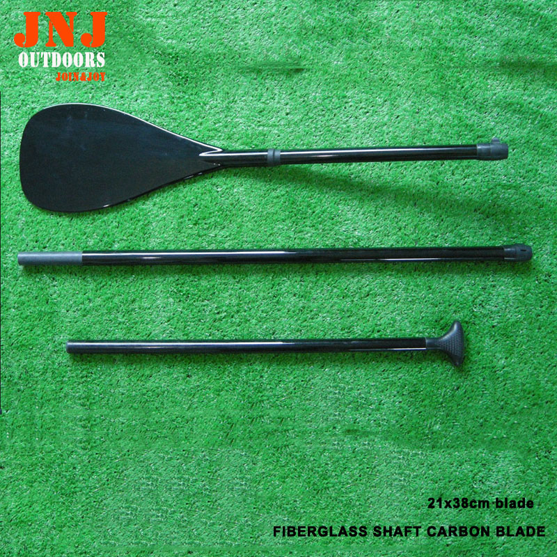 top quality 3pieces sup paddle fiberglass shaft carbon fiber blade with bags