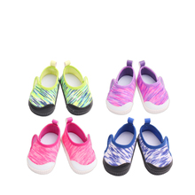 18 inch Girls doll shoes Lovely baby printing canvas American new born accessories Baby toys fit 43 cm s176