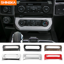 SHINEKA Car Styling AC Switches Panel Frame Air Conditioner Cover Trim for Ford F150 2015+ shineka car styling interior cover instrument panel trim dashboard trim for ford mustang 2015