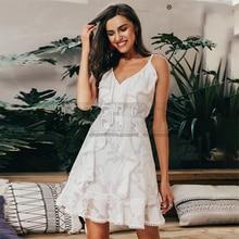 CUERLY Sexy v neck ruffle women summer dress Spaghetti strap white floral chiffon short vestidos Holiday beach casual dresses