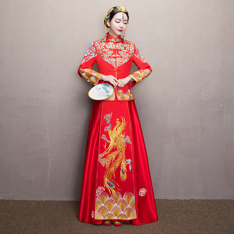 Retro Women Robe Red Traditional Gown Bride Chinese Phoenix Cheongsam Wedding Dress Long Qipao Vestido Oriental Style Dresses