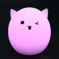 Creative Cute Pig LED Children Kids Baby Night Light Lamp Colorful Silicone Soft Nursery Sensitive Tap