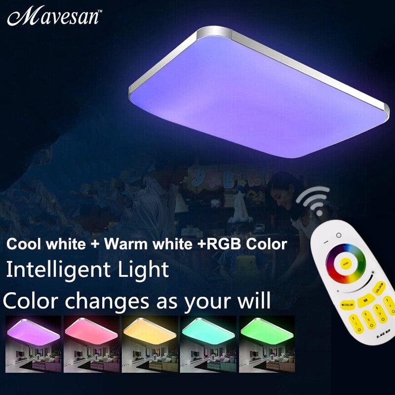Moderne LED Plafonniers Lampe RGB pour salon chambre 90-260 v dimmer carré encastré au plafond led plafondlamp enfants chambre