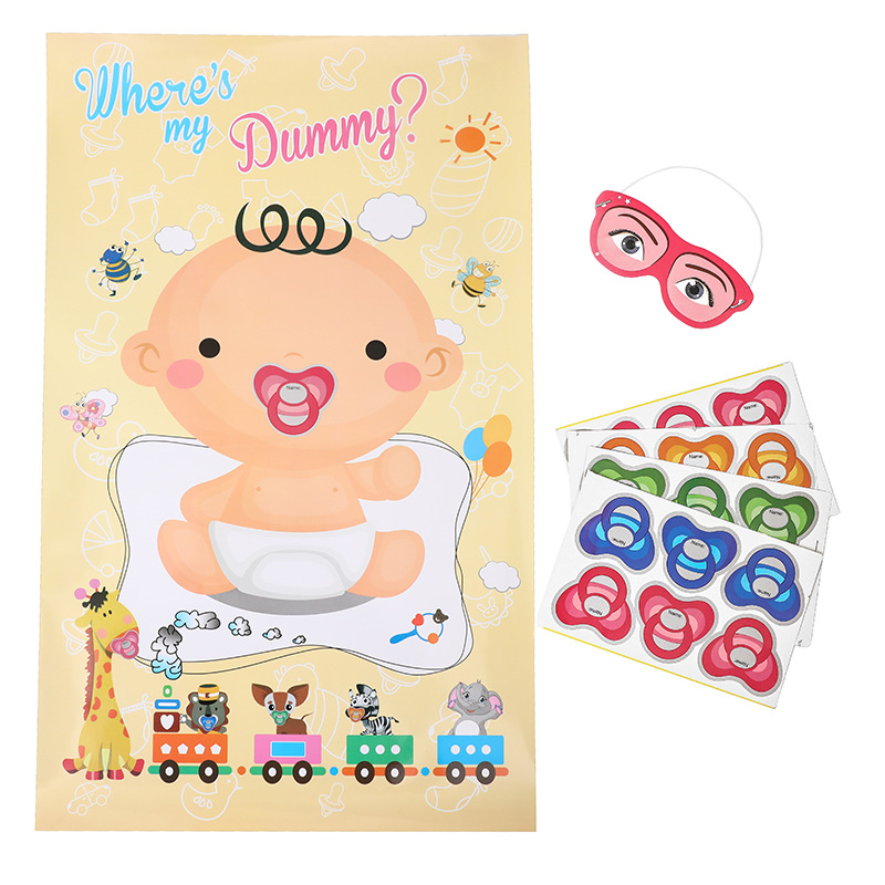 Baby Shower Game Pacifier Sticker 1th Birthday Party Suitable Baby Shower Celebration Detachable Pin Poster Boy or Girl Dummy,Q image