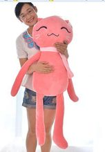 new creative big size plush pink cat toy lovely scraf cat pillow doll gift about 120cm
