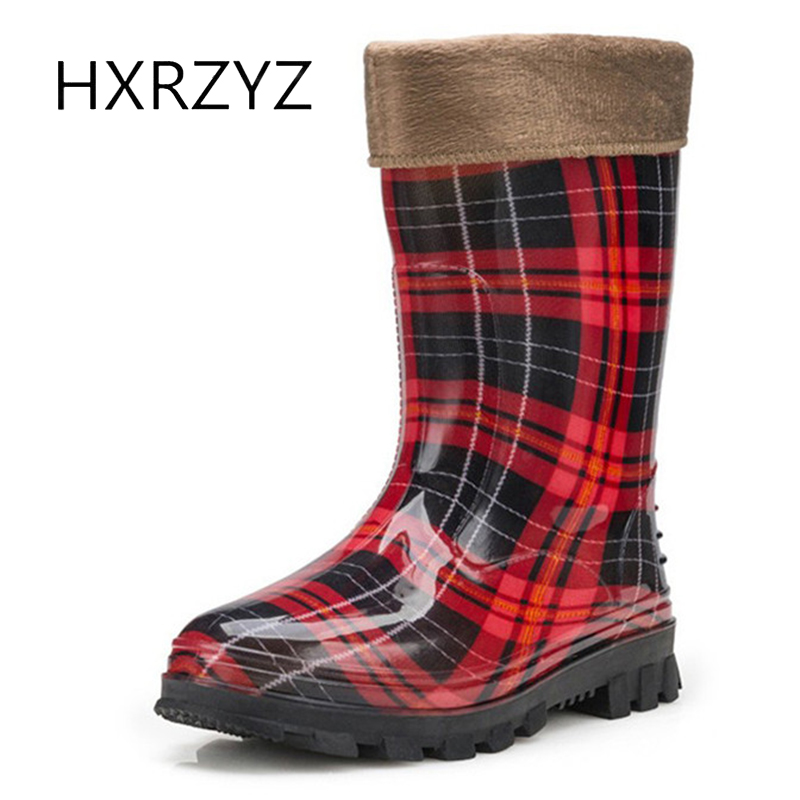 HXRZYZ Large Size Lady Non-slip Rain Boots Women Warm Boots Removable Overshoes Waterproof Rain Shoes Women Rubber soles boots labor waterproof overshoes industrial working shoes cover factory rubber anti smashing protective safety shoes non slip