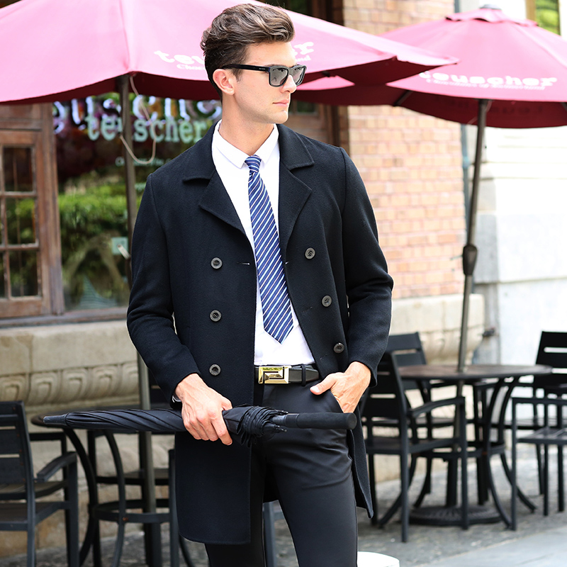 100% шерсть зимняя куртка Мужские повседневные шерстяные пальто двухсторонний высококачественный материал мужская верхняя одежда в деловом