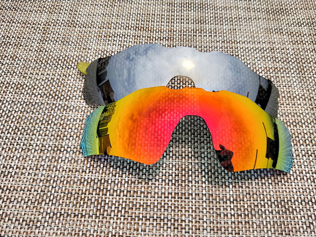 f21d3c5402b 2Pairs Fire Red   Silver Polarized Replacement Lenses for Radar EV Path  Sunglasses Lens Only