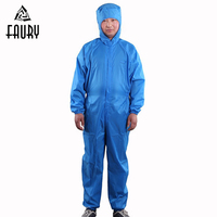 Unisex Waterproof Oil proof Food Factory Protective Overalls Workshop Work Uniforms Conjoined Hooded Dust proof Clothing