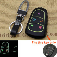 Car Styling Car Smart Remote Key Case Car Cover 5 Bottons Leather Cover Keyfob Holder Bag Keychain For CT6 XT5 ATS SRX XTS