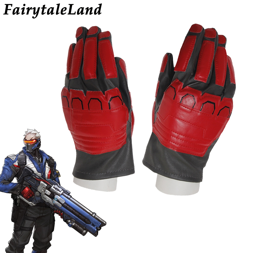 OW Solider 76 Cosplay Accessory Fancy leather Solider 76 cosplay gloves Hot Game Superhero cosplay cycling gloves
