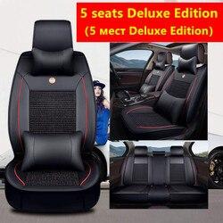 (Przód + tył) luksusowe skórzane pokrycie siedzenia samochodu 4 sezon dla Peugeot 205 206 207 2008 3008 301 306 307 308 405 406 407 samochodów w Wsporniki fotela od Samochody i motocykle na