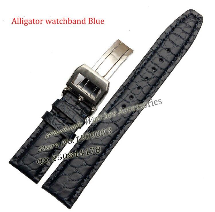 Bande de montre 20mm 21mm 22mm Noir Brun Bleu Nouveau Alligator En Cuir Véritable Courroie de Bandes De Bracelet Argent Montre boucle Promotion