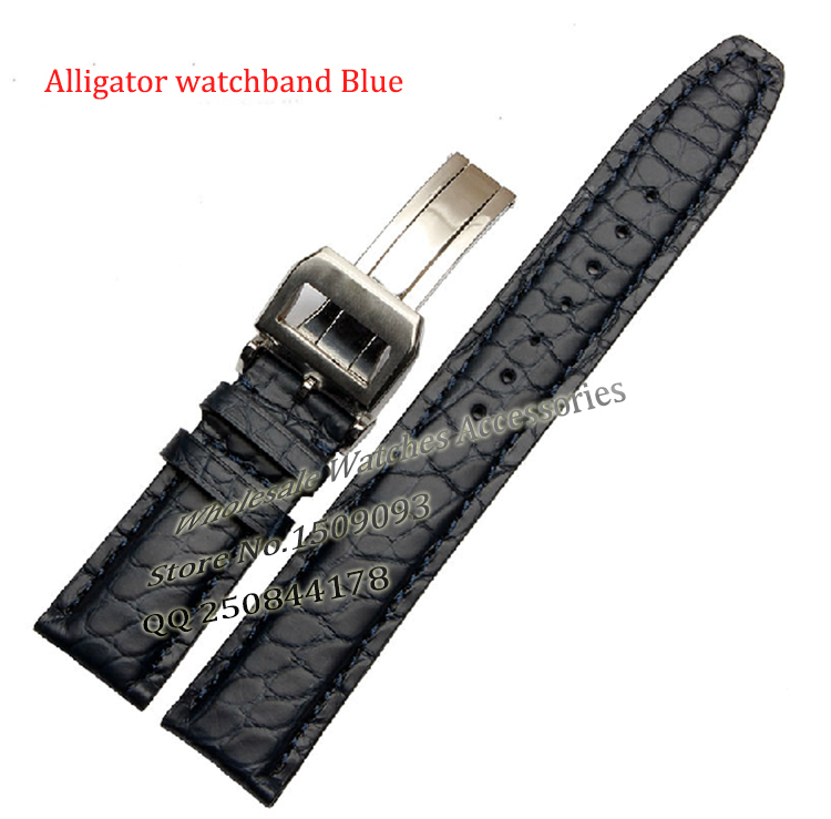 Watch band 20mm 21mm 22mm Black Brown Blue New Alligator Genuine Leather Watchbands Strap Bracelet Silver Watch Buckle Promotion 18mm 20mm 21mm 22mm new mens black brown alligator leather watch strap band deployment watch buckle