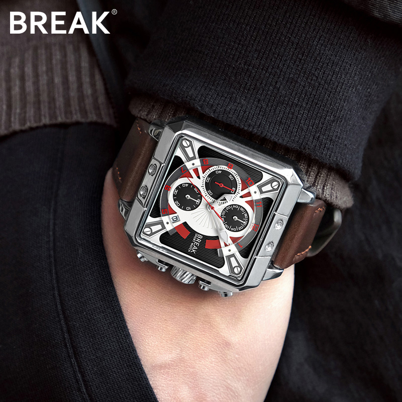 Break hommes Chronographe Montre Homme Imperméable En Cuir Rectangle Bracelet À Quartz Montre-Bracelet Homme Horloge Relogio Masculino Mode