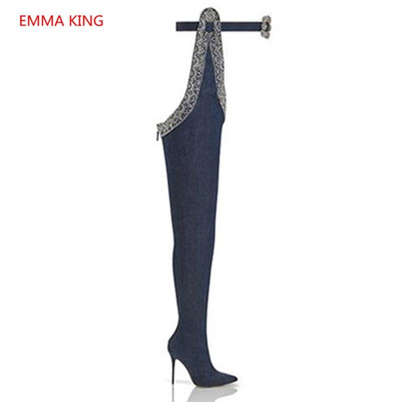 Femmes Shown Genou Longues Toe As Bottes Point Sexy Sur Cowboy Le Cuissardes Haute Picture Ceinture Denim Décor Bleu Boot In Strass Talon HSxY4