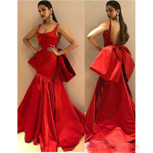 Modest Long Red Mermaid Evening Gowns with Big Bow Sexy Backless Cheap Long  Prom Party Gowns Custom Made Specail Occasion Dress a759f6341acd