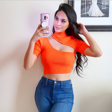 BF Leisure HIP HOP Europe and the United States cross-border solid half-high collar hollow stitching short-sleeved women shirts