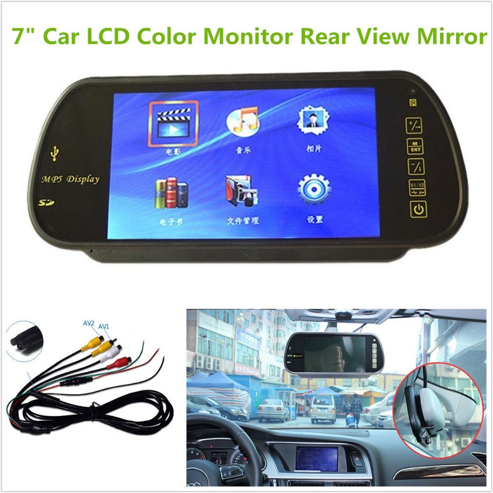 Camera Surveillance Bluetooth 7 Inch Color Tft Lcd Mp5 Car Rearview Mirror Monitor Auto