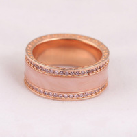 Authentic S925 Sterling Silver Women Ring Lady Jewelry Girl Birthday Gift Hearts Ring Rose Gold Color Pink CZ