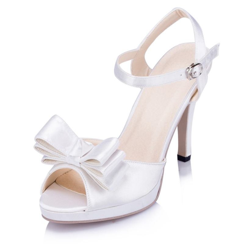 ФОТО Elegant Satin Lace Bowknot   Pearls Wedding Shoes  White /Ivory Women Party Shoes   Sexy Bridesmaid Shoes   EU33-41   JYG279