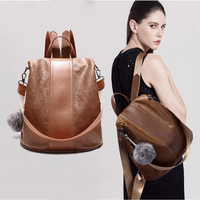 Genuine Leather Women Backpack School Bags For Teenagers Girls Fashion Vintage Anti Theft Shoulder Bags Brand