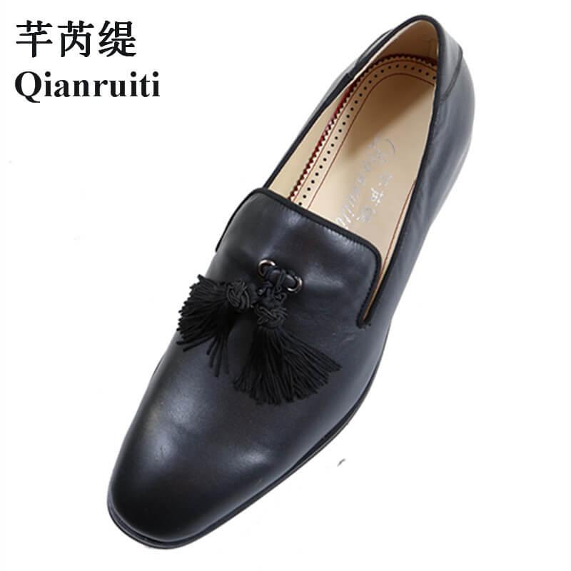 Noir Chaussures Slip Couleur Personnalisée Mocassins Fumer Qianruiti Eu39 De Italie Hommes on multi Rue Gland Pour eu46 Kl13TFJc
