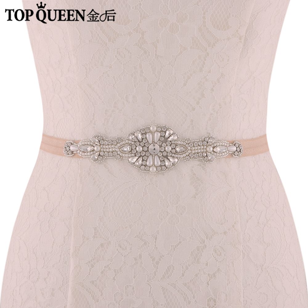 TOPQUEEN Stretchy Rhinestone Belt Elastic Belt Silver Women Bridal Belt Stretchbeltsforwomen Ceremoniesbelt  SJD-S29