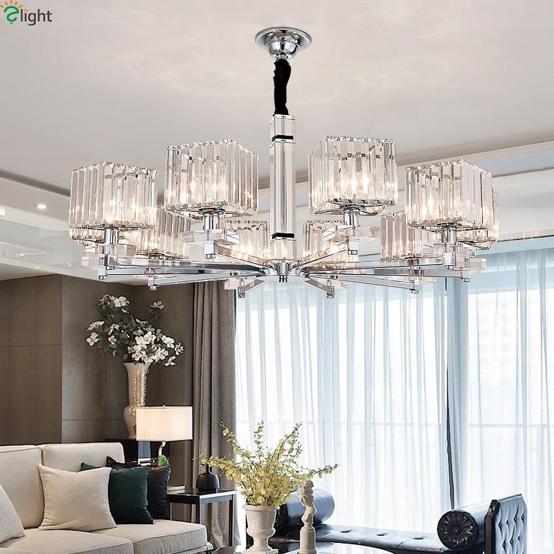 Modern Led Chandeliers Lighting Chrome Metal Living Room Led Pendant Chandelier Lights Glass Dining Room Hanging