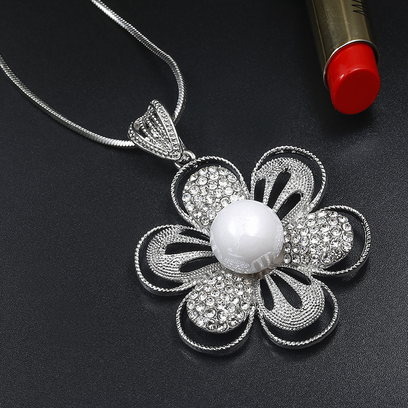 Necklaces Jewelry Gifts Pendants Jewelry Necklace for Women Antique Silver Color Big Flower Pendants Necklace Female Gift Fashion 66X47Mm