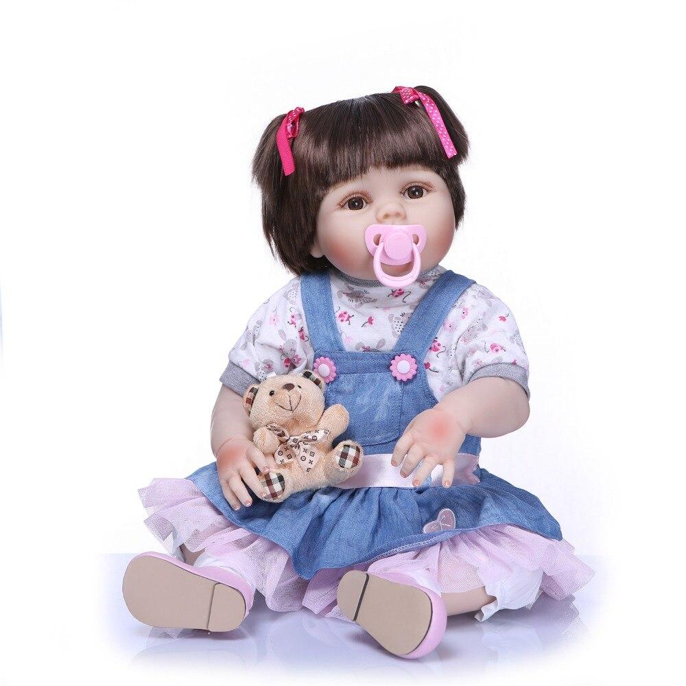 NPKCOLLECTION nowy prawdziwe 56 CM pełna ciała silikonowe dziewczyna Reborn Babies lalki urocza realistyczne maluch dziecko towarzysze zabaw dla dzieci zabawki w Lalki od Zabawki i hobby na  Grupa 2
