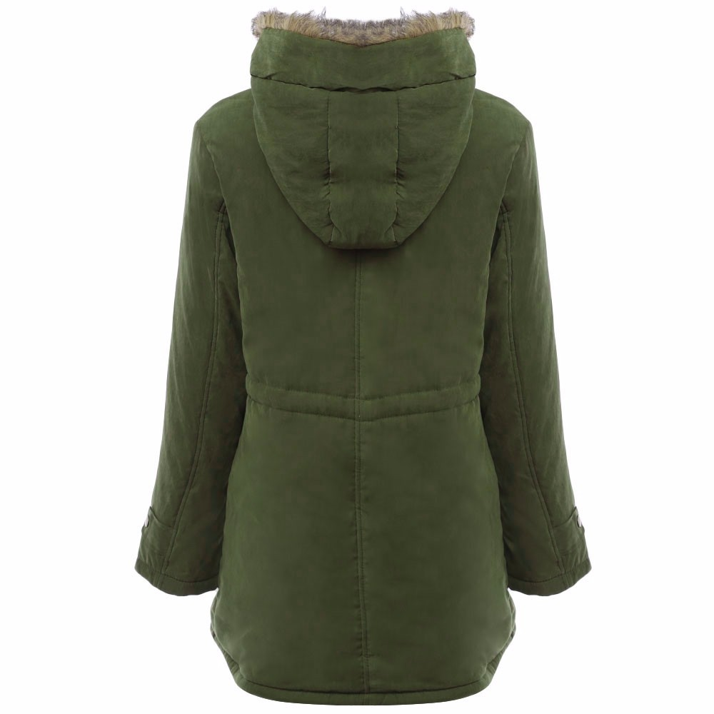 VESTLINDA Coats Big Size Fur Hooded Down Coat Army Green Drawstring Jackets Coat Winter Jacket Women Warm Coats Parkas Plus Size 9