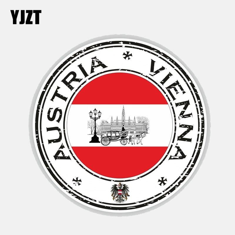 YJZT 12.9CM*12.9CM Personality Austria Vienna Flag Reflective Car Sticker Decal 6-2689