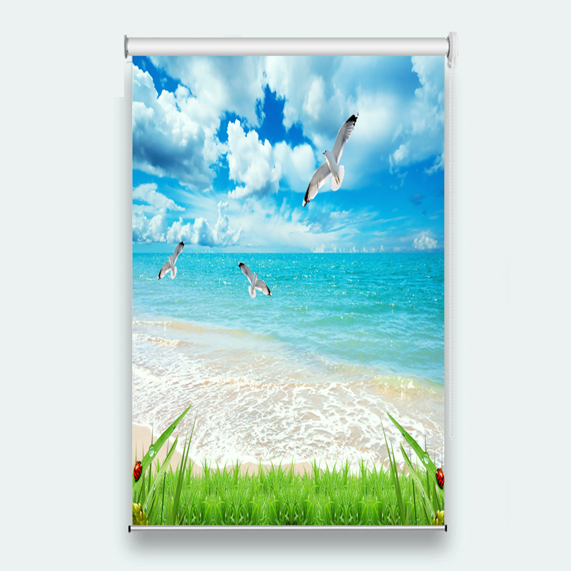 2018 New Blackout Roller Blinds 3D Blinds Curtains For Living Room Bedroom beach scenery Bead Window Curtain
