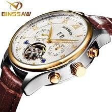 Binssaw новый мужчины кожа наручные часы оригинальный бренд класса люкс лучших большой автоматический спортивной моды механические часы relogio masculino