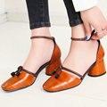 Aiweiyi 2017 zapatos mujer talón grueso sandalias de tacón cuadrado Cuero Genuino del dedo del pie Mujeres Bombas Partido Zapatos De Tacon alto 39