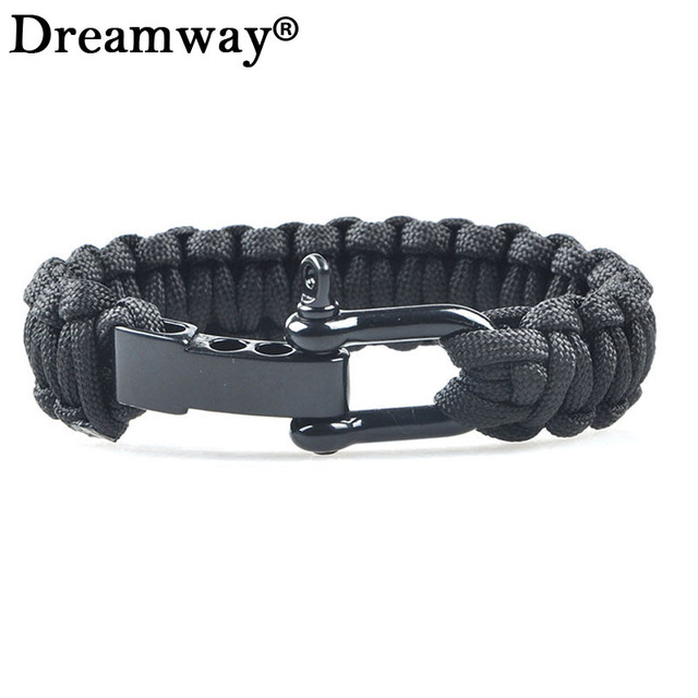 New Braided Pulseras Outdoor Camping Rescue Paracord Bracelets Parachute Cord Men Emergency Survival Rope Black Buckles