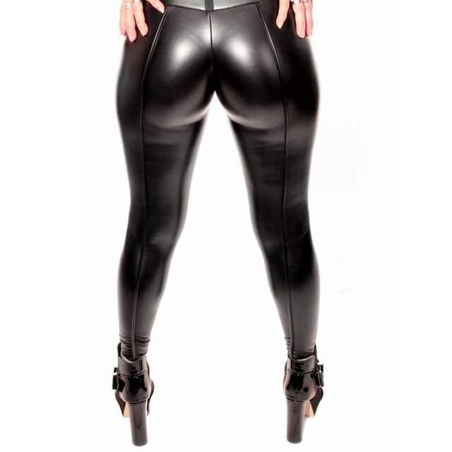 077a410d35478 Online Shop 2018 Autumn Winter Women Sexy Black PU leather Leggings Booty  Leggings Push Up Faux Leather Pants Latex Rubber Pants Jeggings
