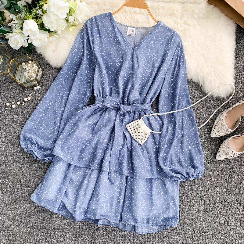 Korean Summer 2019 Sweet Women Dress Elegant V Neck Puff Sleeve Dot Print Dress Cascading Ruffle A Line Female Dress Vestido 41