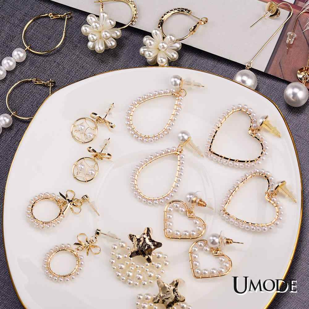 UMODE New Fashion Gold Korean Pearl Earrings 2019 For Women Love Gift Round Heart Drop Dangle Earring Geometric Trendy Jewelry