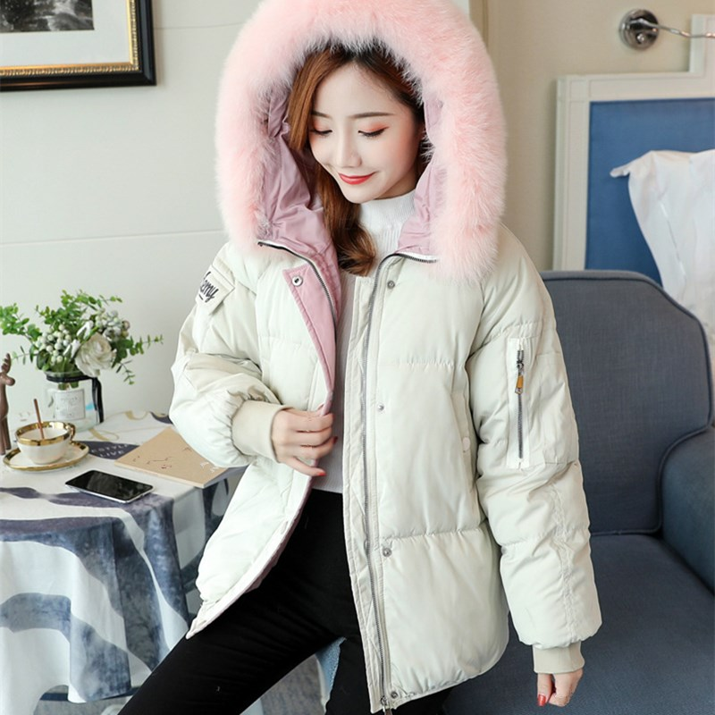 Warm Cotton Padded Parkas Women Beige red Hooded Coats Thicken Short Loose 2018 New Outerwear Winter Jacket pink Female Fur green black W0wYFWfqP